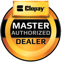 Image of Clopay garage door logo, Roseville Overhead Door sells and installs Clopay garage door products